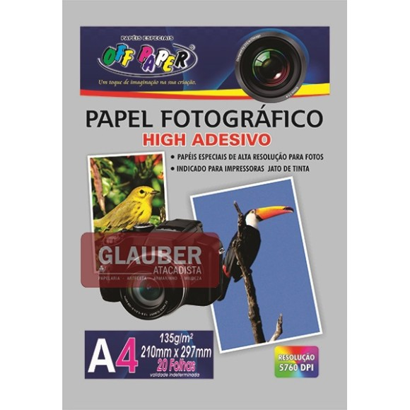 PAPEL FOTOGRÁFICO ADESIVO A4 135G PT/ 20